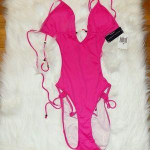Ralph Lauren | Pink String Tieup Onepiece Swimsuit